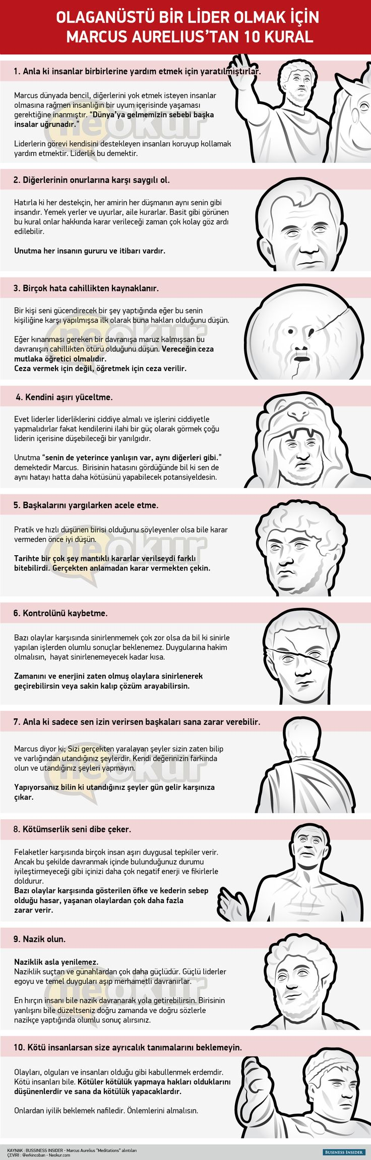 Roma imparatoru Marcus Aurelius'un 10 Liderlik Kuralı
