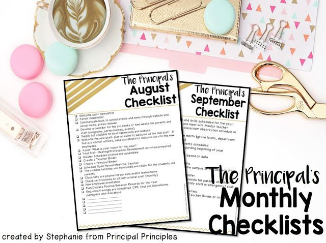 Principal's Monthly To-Do Checklists