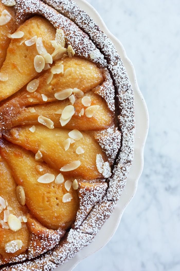 Almond tart with caramelized pears.