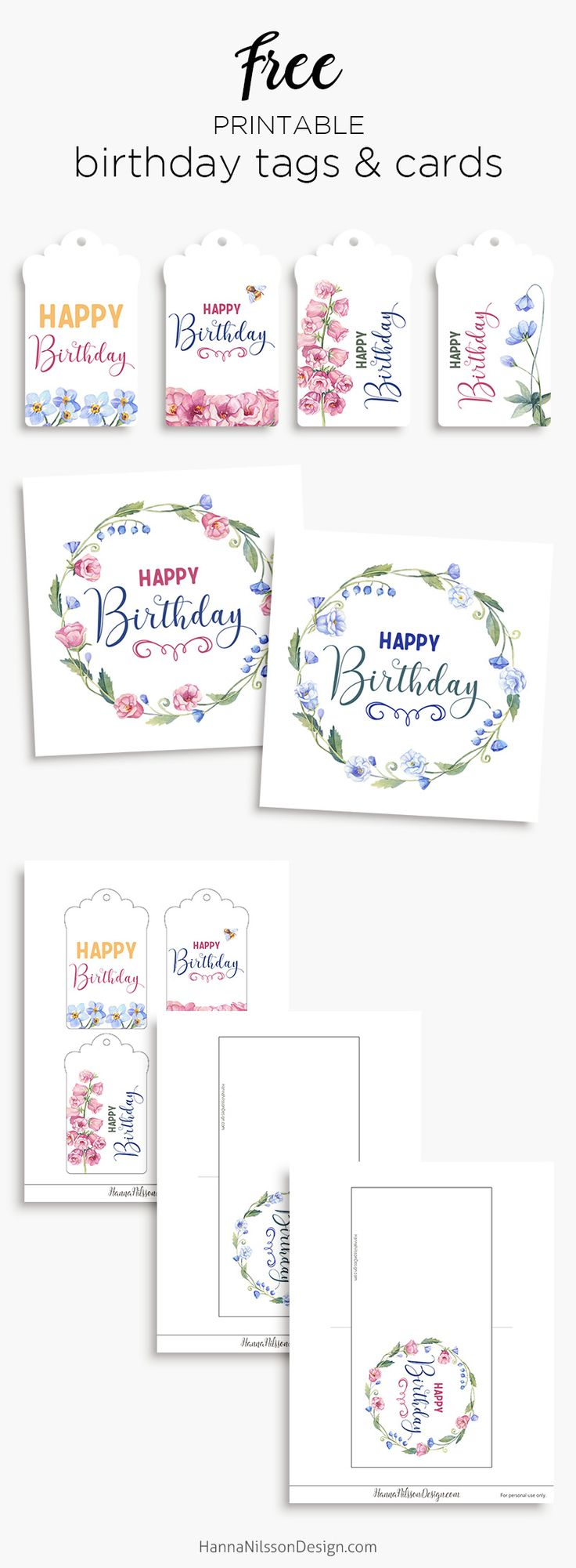 Birthday tags & cards   Free floral printables   #printables #birthday #birthdaycards #freeprintable