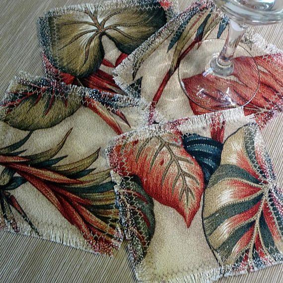 Tropical Coasters Barkcloth Fabric Coasters Set of 4