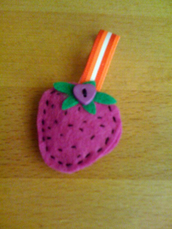 Felted Strawberry Brooch by HandmadeCraftCards on Etsy, £2.00