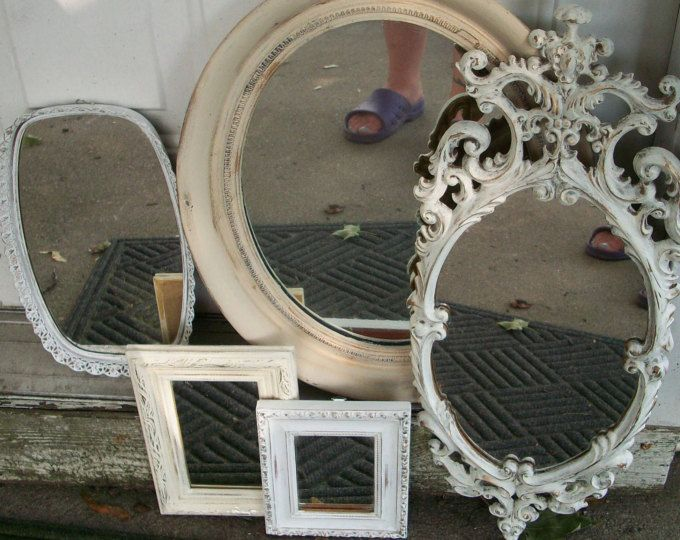 Mirror Gallery Set Of 5 Vintage Antique Wall Mirrors Hand Painted Ombre Neutral Shades Rustic Wedding Photo Pr Antique Mirror Wall Mirror Gallery Mirror Wall
