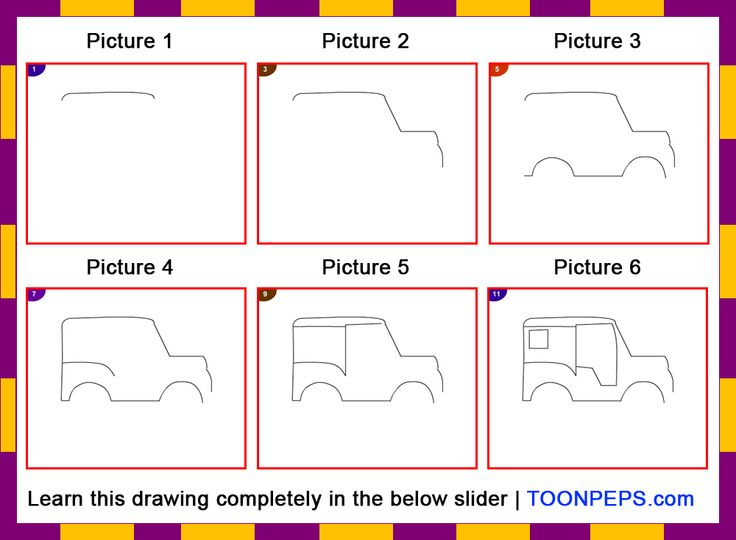How to draw a Jeep for kids step by step