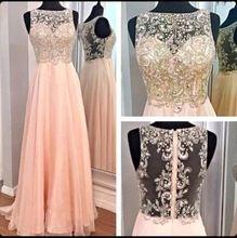 2015 кристалл длинные вечерние платья для женщин ну вечеринку бисером жемчужно-розовом само-иллюзия спинки вечерние платья пром платья(China (Mainland))