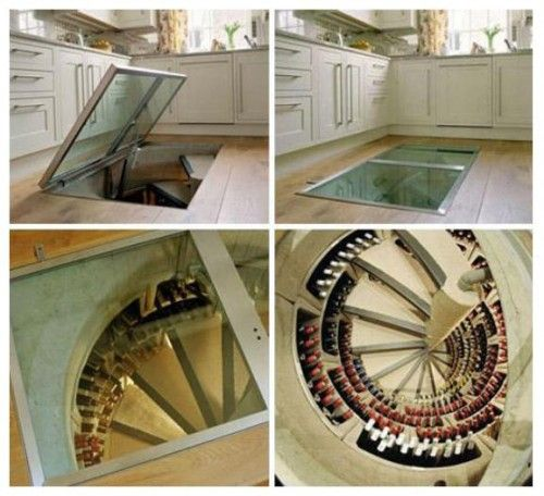 A girl can dream...: Kitchens, Spirals Staircases, Dreams Houses, Idea, Stairs, Glasses Doors, Wine Cellars, Winecellar, Traps Doors