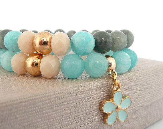 Blue Jade Stretch Set of Bracelets, Blue and Grey Bracelet with Flower Charm, Summer Bracelets