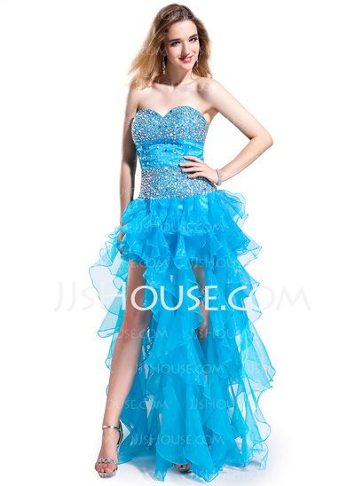 Prom Dresses - $172.99 - A-Line/Princess Sweetheart Asymmetrical Organza Charmeuse Prom Dress With Beading (018025271) http://jjshouse.com/A-Line-Princess-Sweetheart-Asymmetrical-Organza-Charmeuse-Prom-Dress-With-Beading-018025271-g25271/?utm_source=crtrem&utm_campaign=crtrem_US_28010