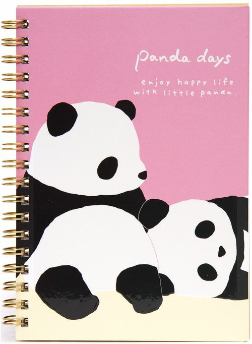 kawaii ring binder notebook with panda bears from San-X