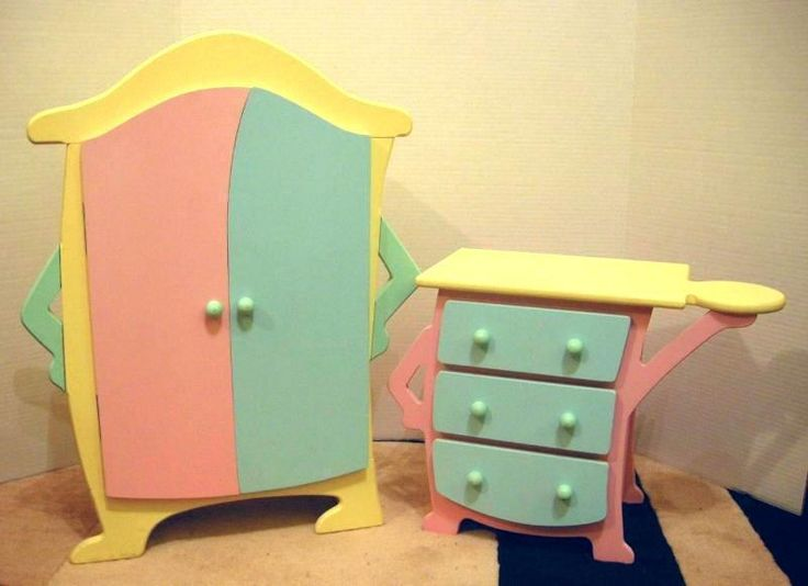 Tollytots Tolly Tots Doll Furniture Wardrobe/Armoire Dresser Fits American  Girl