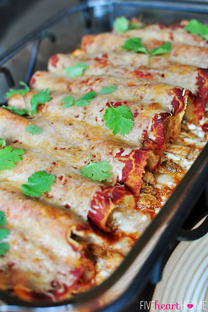 Creamy Dreamy Chicken Enchiladas ~ youll never guess the secret ingredient! | Five Heart Home