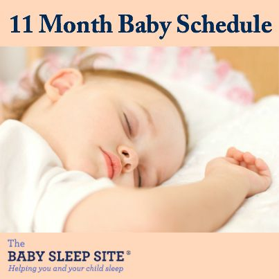 This article outlines the average 11 month old baby schedule, including feedings, solids, naps and night sleep. Skip to the schedule   11 month old's sleep   At this age, most 11 month olds can sleep through the night, without a feeding, and take two naps for a total of 2 to 2 1/2 hours per day plus 11-12 hours at night. A very small percentage transition to one nap as early as 10 months, but not many, so assume 2 naps unless you are certain. My eldest son did transition to one nap ...