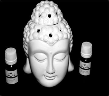 Buddha face burner Lamp  Burner Aroma Lamps : Aroma diffuser lamp rejuvenates the atmosphere of your house or office and is believed to bring calm energy to it, thus helping to create a sense of balance & harmony.  Just light the tealight candle in the hollow space at the back of the lamp & pour the aroma oil mixed with water on the top and feel the fragrance around you.