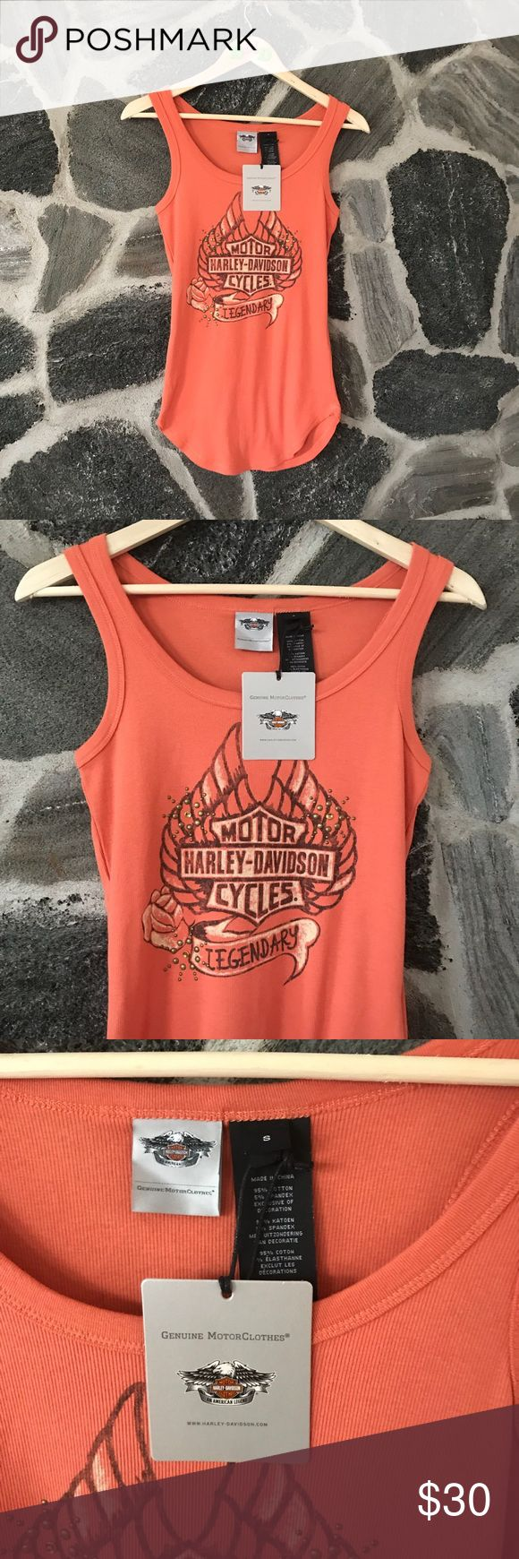 classic | NWT 🏷 ladies HARLEY DAVIDSON tank top • BRAND NEW WITH TAGS‼️ • orange ribbed Ladies HARLEY DAVIDSON wife beater like tank top •  + size: small + super cute! Stretchy ribbed material, runs as all HD tanks top, just a tad bit big. Basic but super cute and brand new. Great for a last minute gift for your biker bestie!  #harley #harleydavidson #motorcycle #biker #orange Harley-Davidson Tops Tank Tops