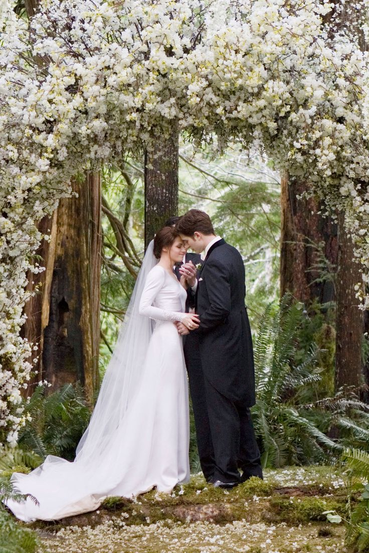 Kristen Stewart wore a Carolina Herrera gown for the Twilight on-screen wedding, where her character Bella married vampire Edward. It took its designer and four seamstresses over six months to make and was custom-made specifically for Stewart.