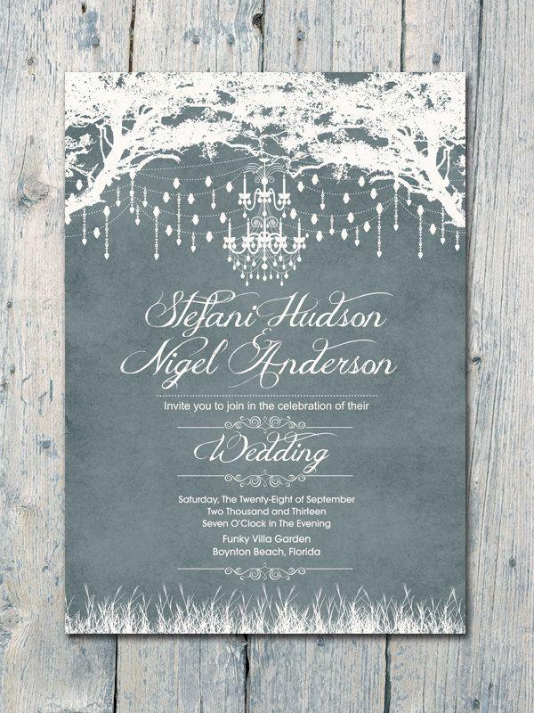Royal Winter Garden Wedding Invitation and Reply Card Set - Wedding Stationery. $1.35, via Etsy.