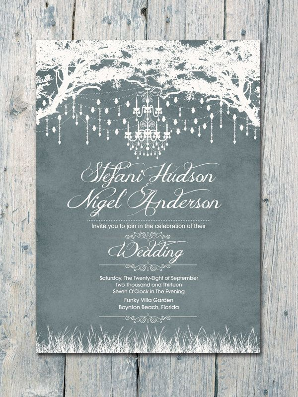 Royal Winter Garden Wedding Invitation and Reply Card Set - Wedding Stationery. $1.35, via Etsy.