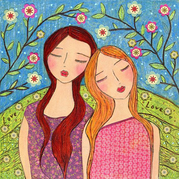Whimsical Friend Sister Painting Art Print on Wood Folk Art Girl Painting, Lean on me. , via Etsy.