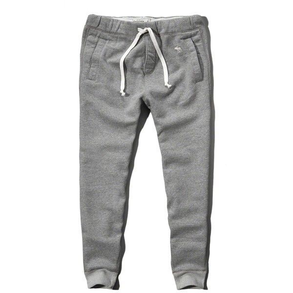 Abercrombie & Fitch Slim Jogger Sweatpants ($27) ❤ liked on Polyvore featuring men's fashion, men's clothing, men's activewear, men's activewear pants and light heather grey