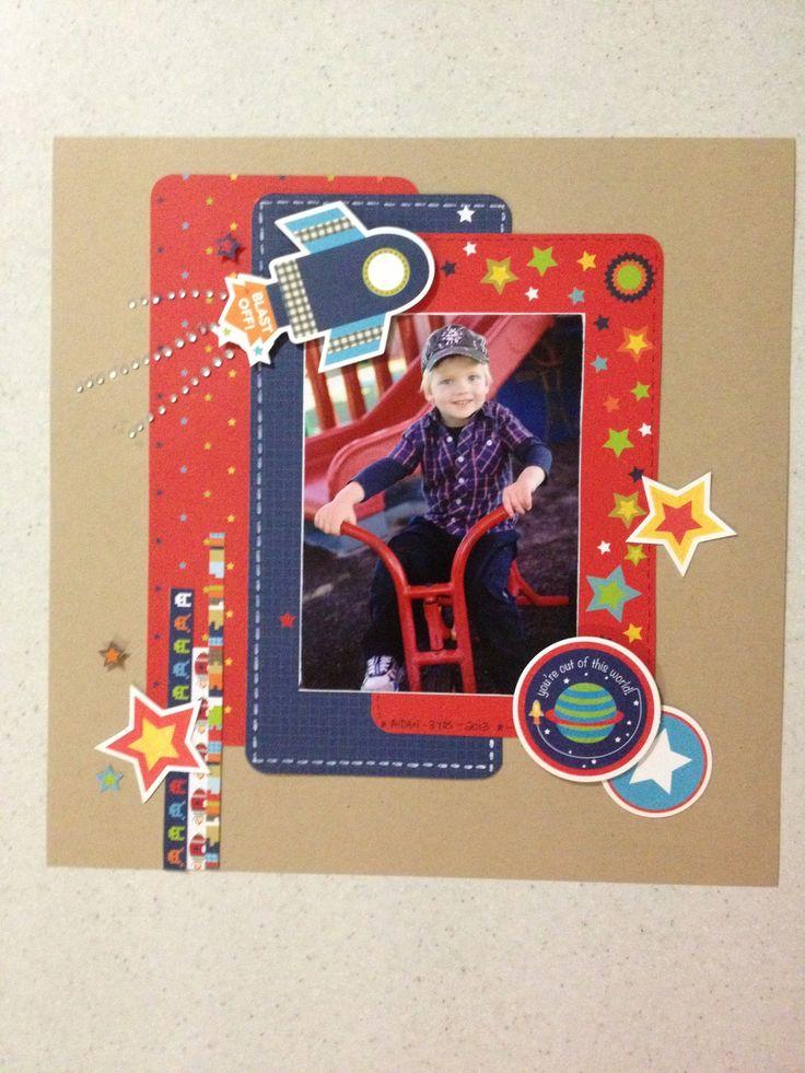 Boy scrapbook layout using Kaisercraft papers 'Blast Off!'