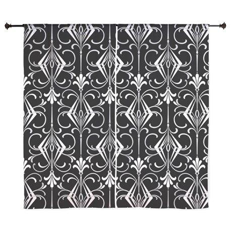 Art Deco, Black, White, Silver Retro Curtains