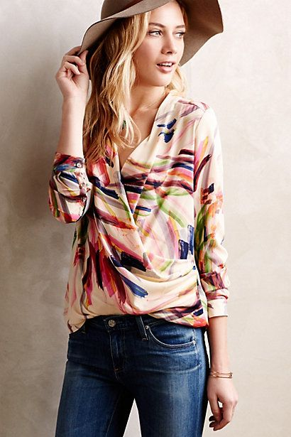 Draped Camille Top #anthropologie. While there is no defined waist, this top has potential in petite length and as long as it isn't an overwhelming amount of fabric. I like the brushstrokes pattern