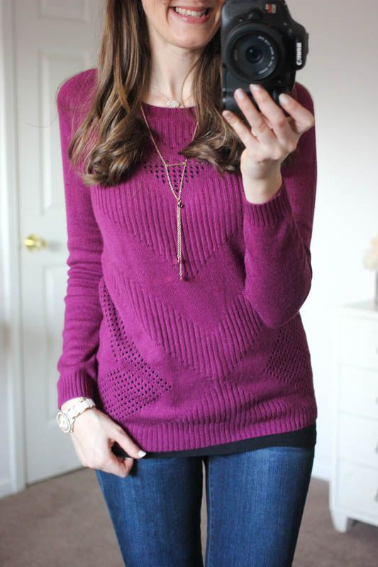 I like both the color and knit of this sweater, it would be perfect with black skinnies and a pretty scarf. I like the skinny jeans as well, they seem like they fit really well without any bagginess. Yuna Chevron Pointelle Knit Sweater from Market & Spruce and Sophia Skinny Jeans from Kensie - Stitch Fix
