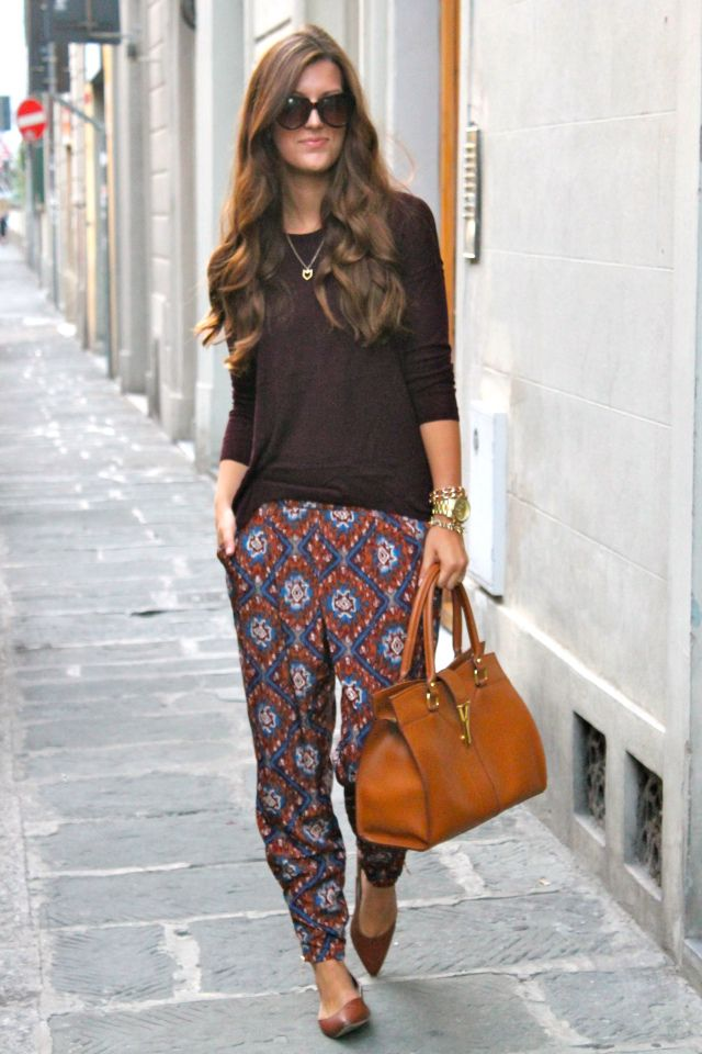 Printed silk trousers as a fall transition piece
