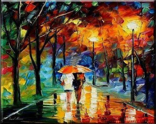 Paisajes abstractos noche de lluvia pinturas al leo for Imagenes de cuadros abstractos famosos