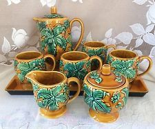 Vintage Royal Sealy Tea Coffee Pot Sugar Creamer Cups Mugs Set Brown Green Japan