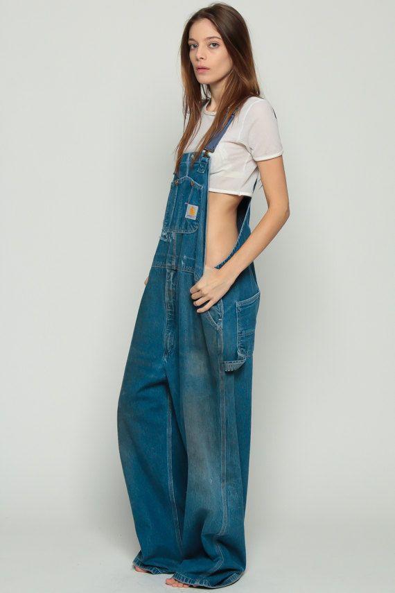 Carhartt Overalls Denim Pants 80s GRUNGE Suspender by ShopExile