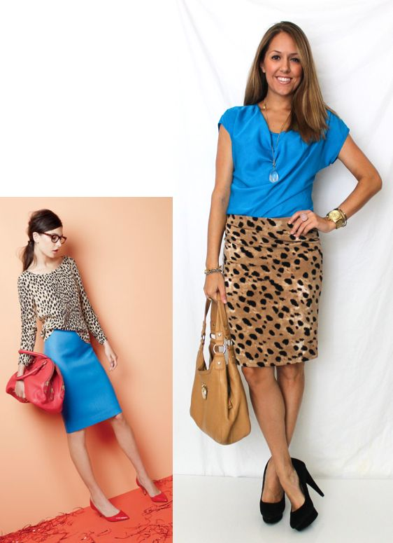 Inspiration photo: J.Crew  Shirt: Limited, $33  Skirt: c/o Style by Marina, $39  Shoes: Colin Stuart c/o MJR Sales, $24 (similar, similar)  Purse: Calvin Klein/TJ Maxx, $120 (similar)  Necklace: My Stella &  Dot website, $59 (with sold-out charm)  Rings: LOFT pink ring $11, My Stella & Dot website $49  Watch: Michael Kors, family gift  Left bracelets: My Stella & Dot website $49 and $32  Right bracelets: My Stella & Dot website $59 and $39