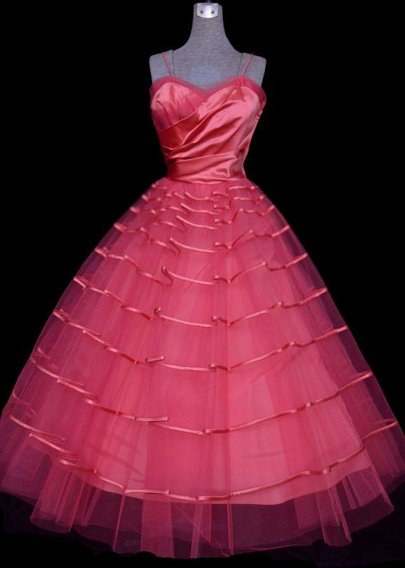 1950s Prom Dress Hot Pink Satin & Tulle