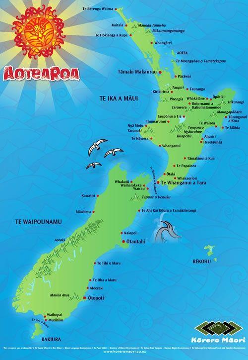 Māori placenames map - New Zealand history online