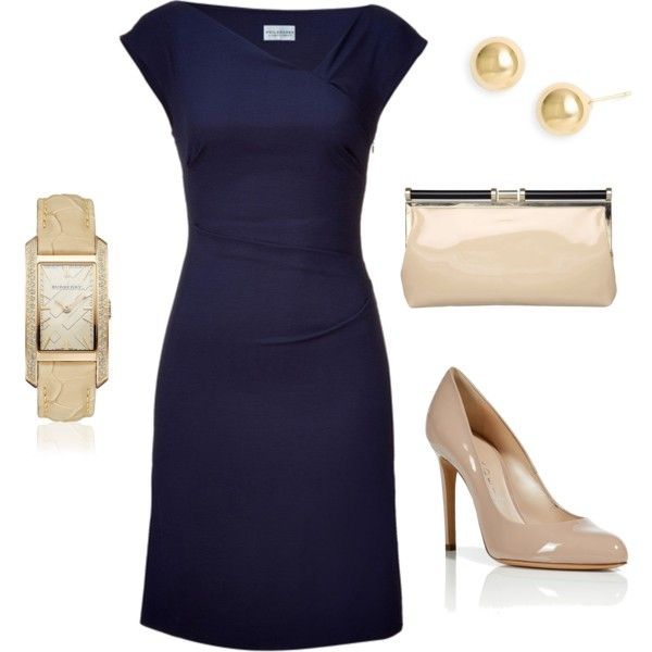 Classic Navy - Polyvore. With silver shoes and a bold silver or coral statement necklace.
