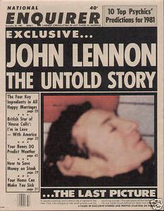 The Death of John Lennon | John Lennon Death Photo National Enquirer DECEMBER 8 1980, ONE OF THE SADDEST DAYS FOR ME EVER, I'M SURE I AM NOT ALONE.