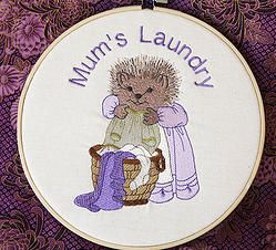 """Mum's Laundry""  8"" machine embroidered hoop art. Can be personalised for your laundry or as a gift for a friend. Finished with stiffened felt for your wall's protection. $22.50 #embroidered #hoop #art #embroideredhoopart"