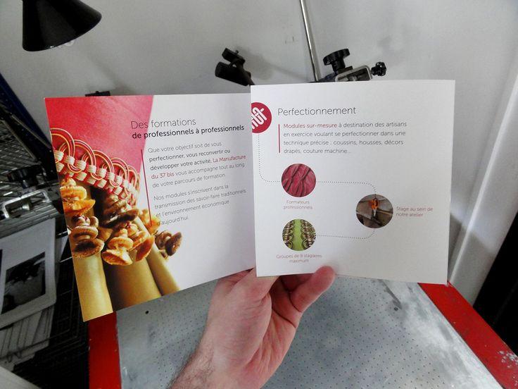 "Brochure for ""La Manufacture du 37 bis"" a tapestry formation center in Paris.  450X150mm open / 150x150mm closed, 300g/m² Offset paper, 2 folds, matt laminate finish. www.lamanufacturedu37bis.org"