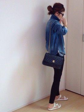 mayumiさんの「◆ヘアラインストライプシャツ(Deuxieme Classe|ドゥーズィエムクラス)」を使ったコーディネート