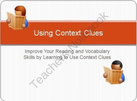 Using Context Clues to Improve Reading and Vocabulary Skills from Karenzo Media on TeachersNotebook.com -  (36 pages)  - This 36 slide Power Point presentation includes definitions, examples, and practice sentences for using context clues to determine the definition of unfamiliar words. The presentation covers definition clues, example clues, contrast clues, and logic of th