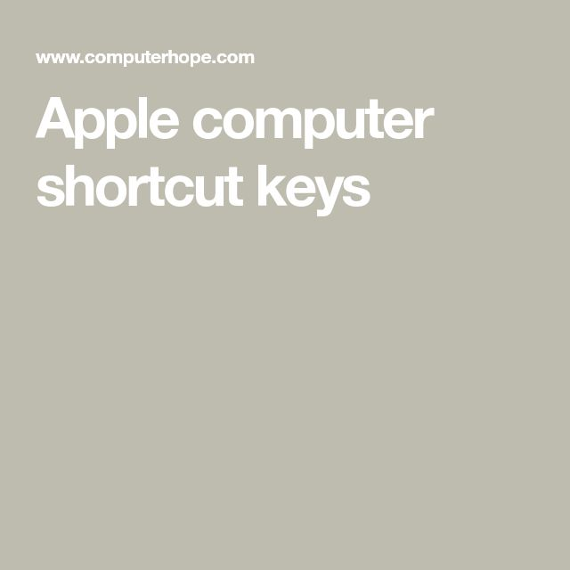 Apple computer shortcut keys