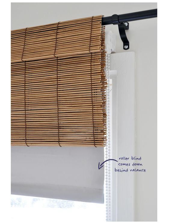 Bamboo Blind Valance & room darkening shade, with curtains - on a budget