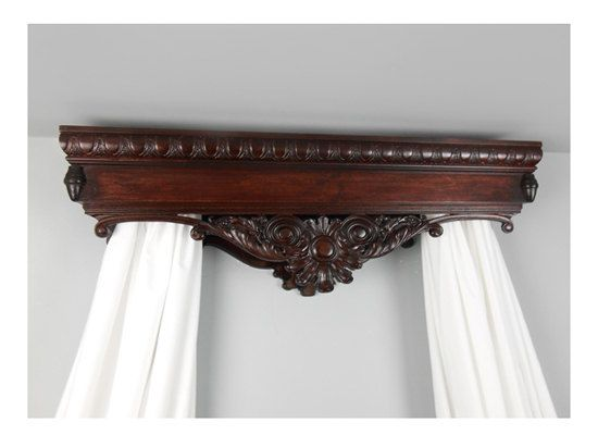 Bed Crown Canopy / Crib Crown / Teester / Carved Wood / Mahogany Finish