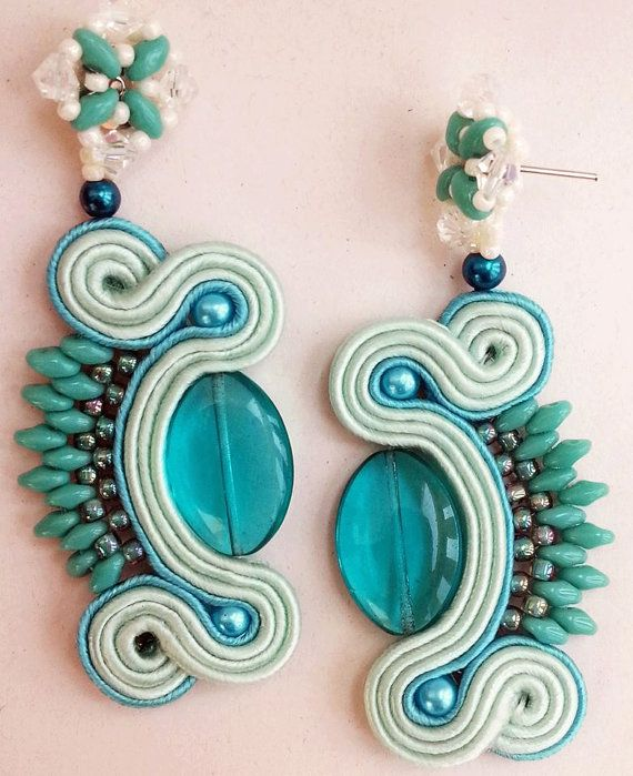 Earrings Turquoise Soutache