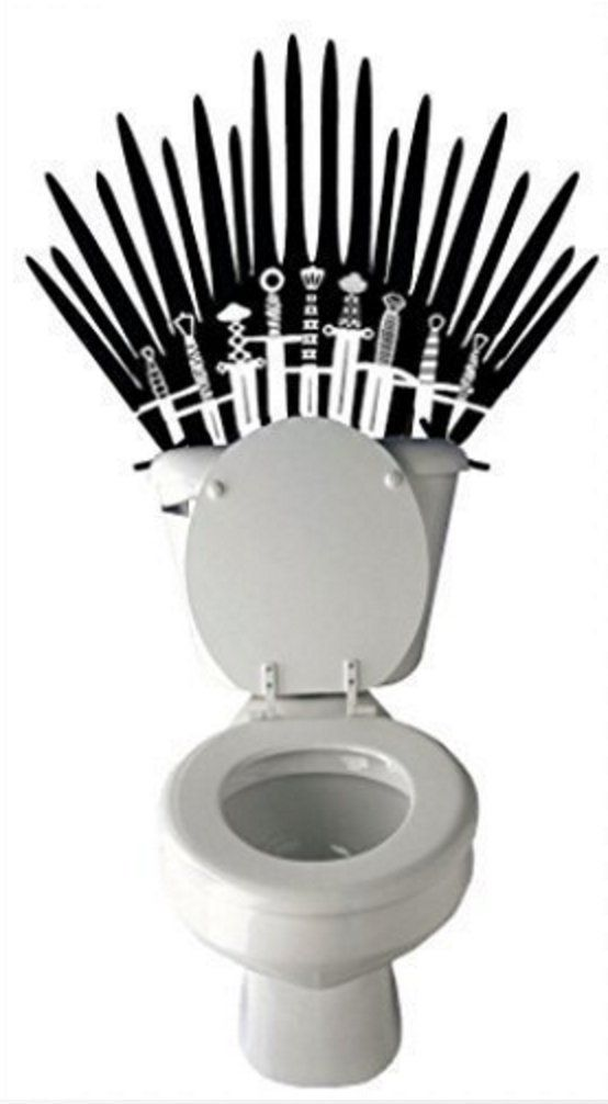 Iron Throne Toilet Decal Game of Thrones Parody Bathroom Wall Sticker. This porcelain throne is mine by right. All those who deny me are my foes!! A toilet seat decal forged from the captured weapons of your conquered enemies is the best home decor of all time. This self-adhesive vinyl decal is designed to attach to the wall right behind your potty, but it could attach onto almost any smooth surface. That means you could have an Iron Office Chair or an Iron Booster Seat. Your people will...