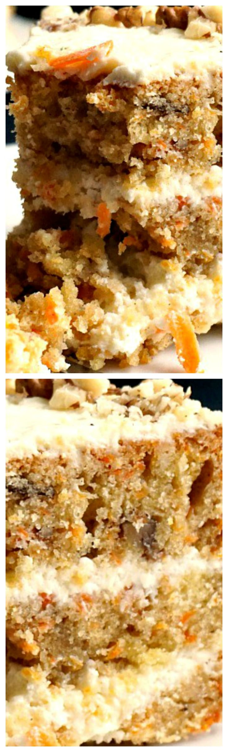 Carrot Cake with Walnuts and a Scrumptious Vanilla Cream Cheese Icing ~ It is beautifully moist, with a dense texture and a magnificent blend of spices that works very well with the sweetness of the cream cheese icing... A family-favourite dessert not only for Easter, but also all year round.