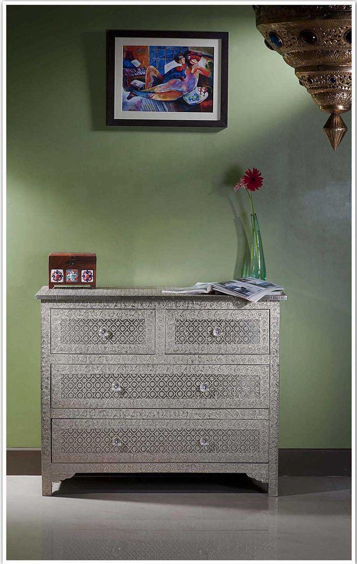 Online Embossed White Metal Chest Of Drawer Dresser Sideboard Bureaus