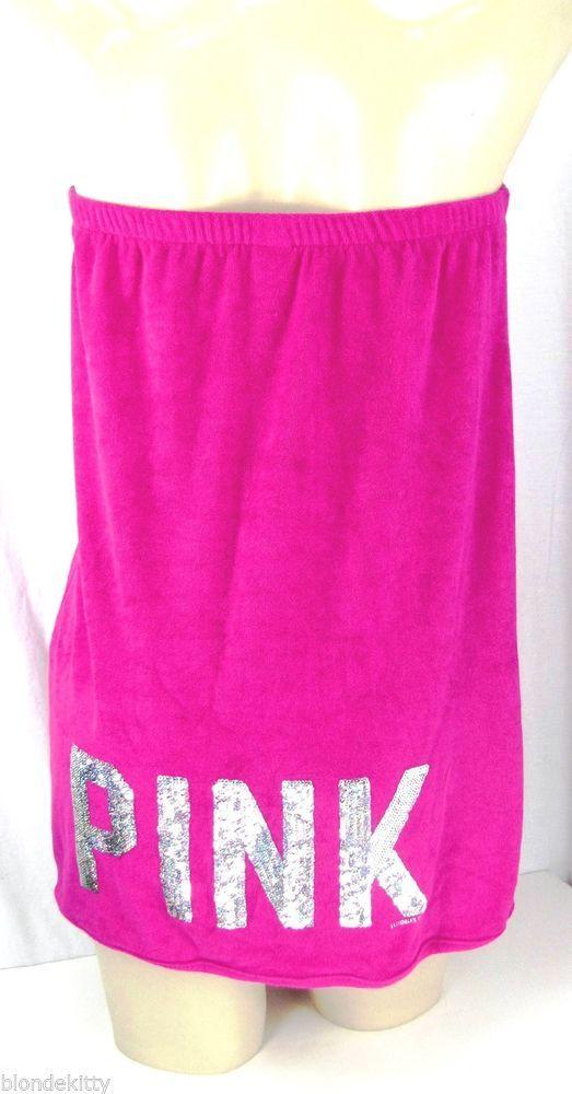 New Victoria Secret Pink Sequin Bling Spa Shower Robe