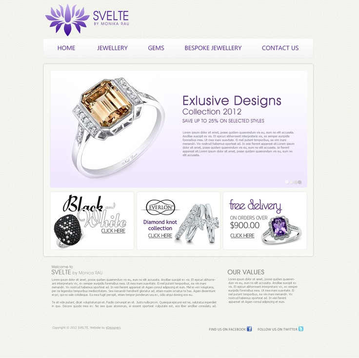 """Svelte"", Jewellery Website by eDesigners."