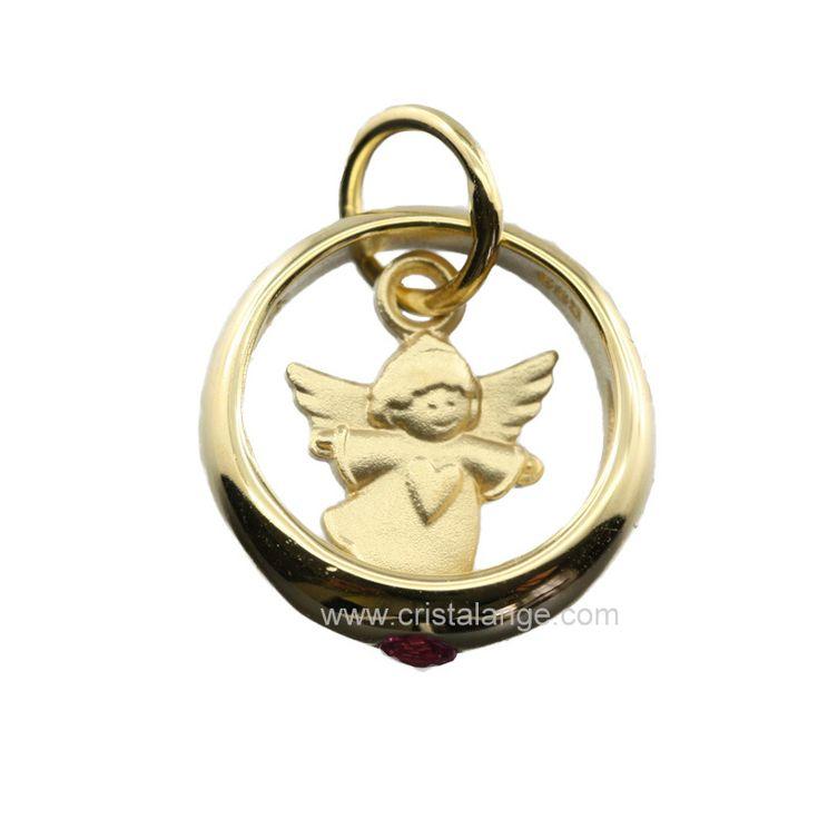 Idée cadeau de naissance: Pendentif ange gardien or 585 et rubis
